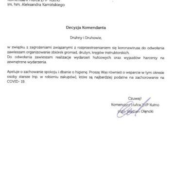 Decyzja Komendanta Hufca w związku z zagrożeniem COVID-19